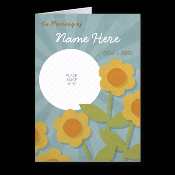 cheerful yellow flowers memorial funeral brochure