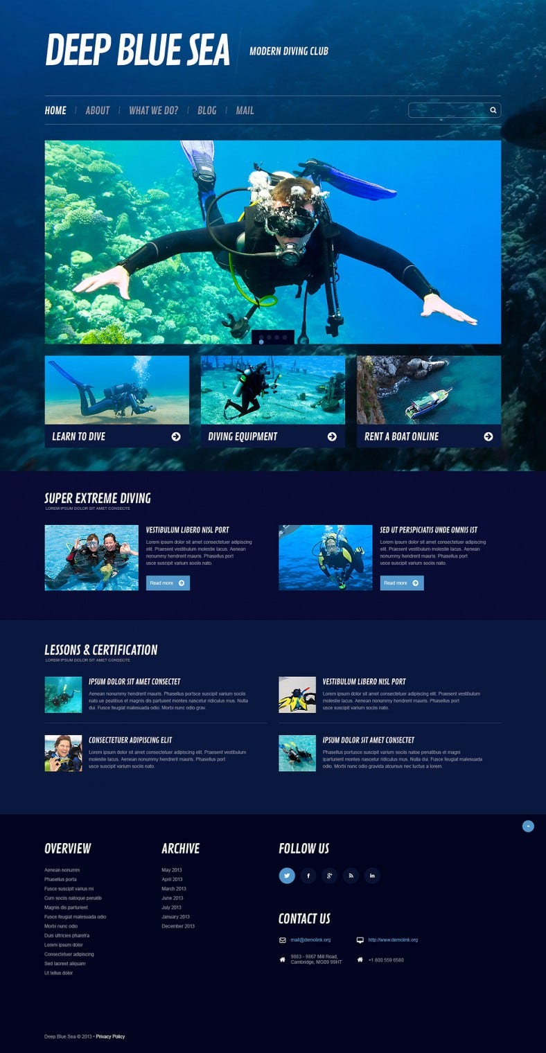 Cherry Frame Work Integrated Diving Wp Theme