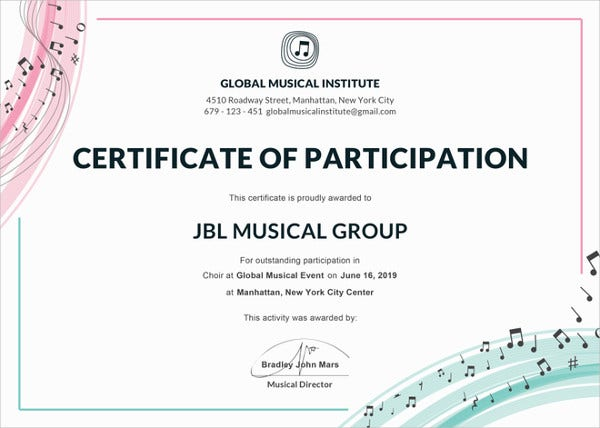 27 participation certificate templates pdf doc psd f free choir certificate of participation template yadclub Images