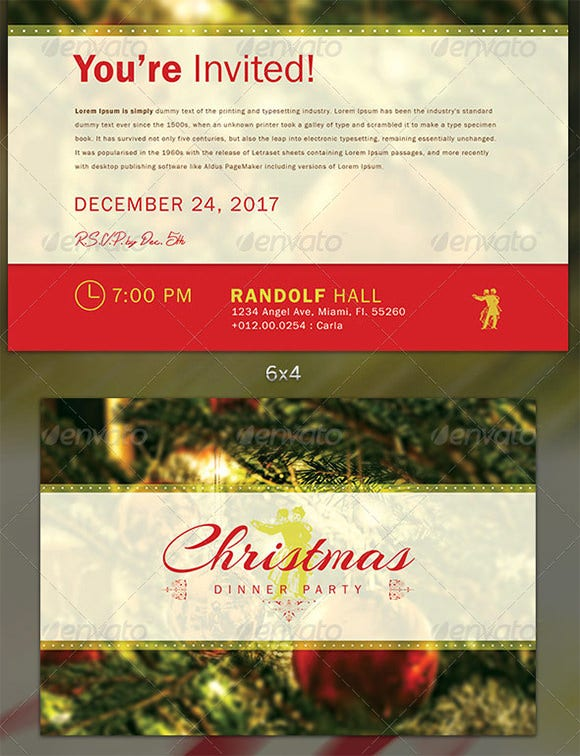 Christmas Dinner Party Flyer Invite Template  Christmas Dinner Invitation Template Free
