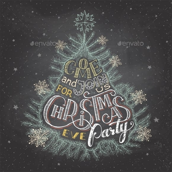christmas eve party invitation chalkboard