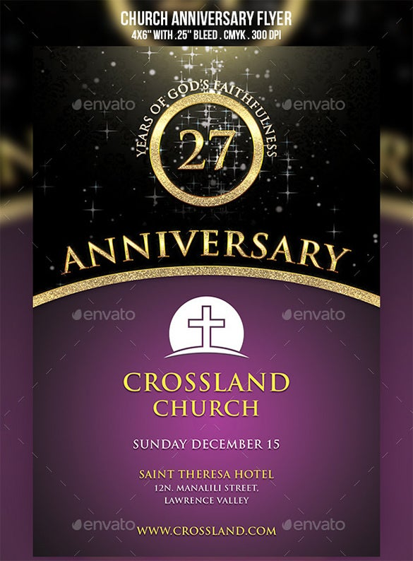 photograph regarding Free Printable Flyers for Church known as 18+ Easiest Anniversary Flyer Templates - PSD, AI, InDesign