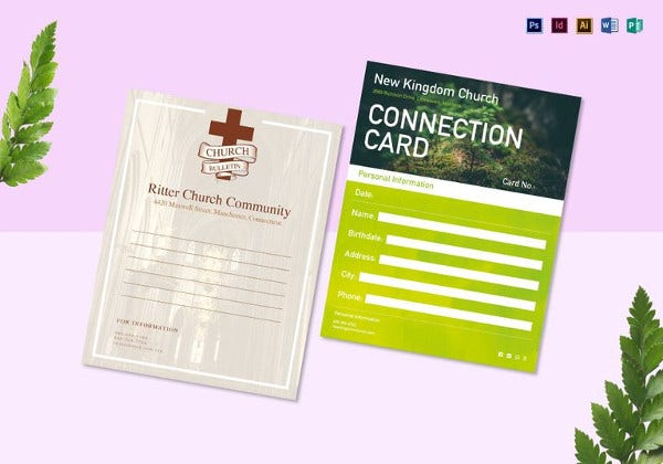 church bulletin and connect card flyer template