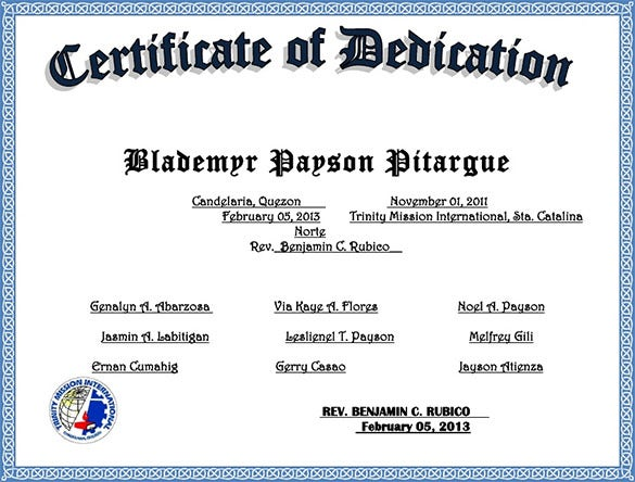 church certificate of dedication template