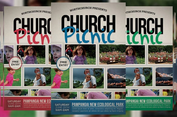 church picnic flyer template 6