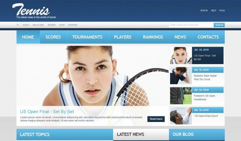 Classic Blue Tennis PSD Website Template