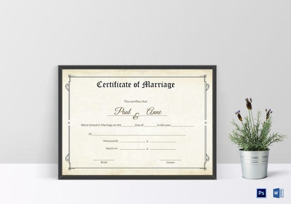 classic marriage certificate template
