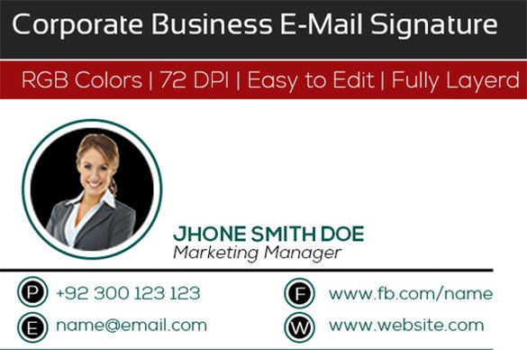 13 corporate email signature templates free premium for Company email signature template