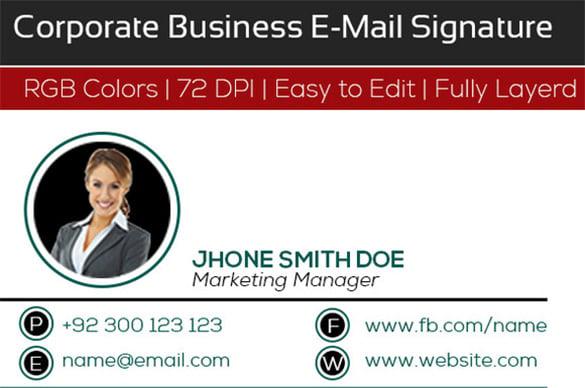 clean corporate business e signature templates