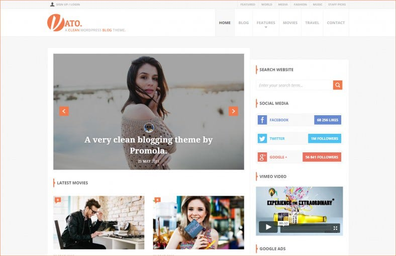 Clean Full Width Page Blog Template