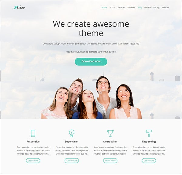 clean and modern landing page wp theme