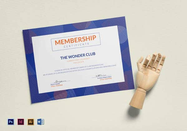 club membership certificate template in psd