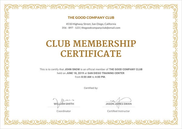 club membership certificate template