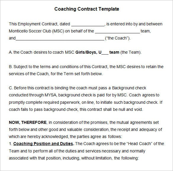 coaching contracts templates coaching contract template 4 free word pdf documents