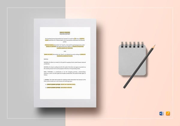 coaching contract template to print