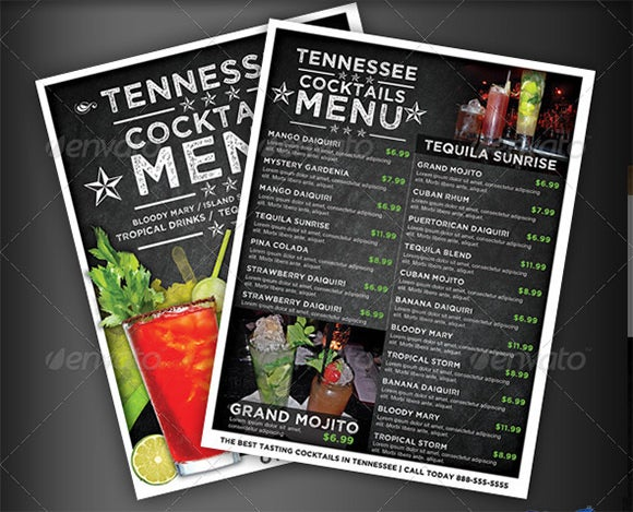 cocktail drinks menu templates