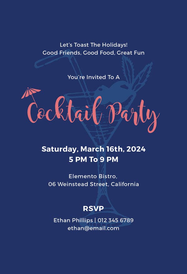 Stunning Cocktail Party Invitation Templates Designs Free - Cocktail party invitation template