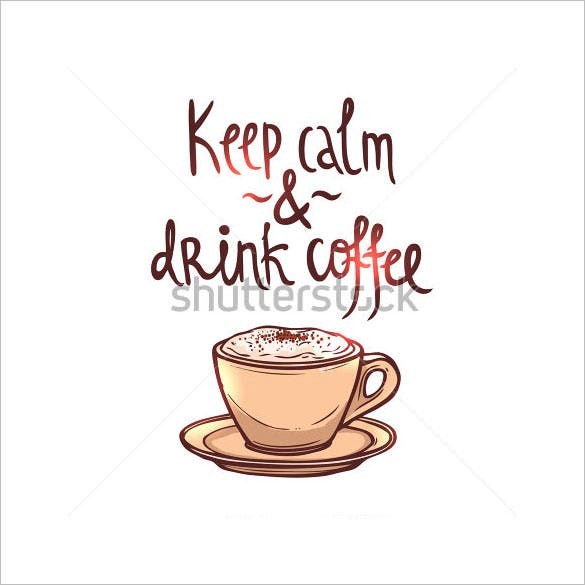 coffee hand drawn keep calm poster with lettering