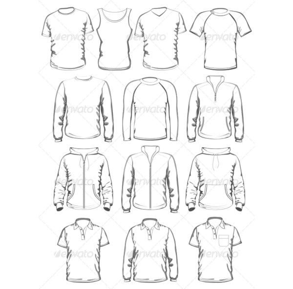 collection of men clothe outline template1