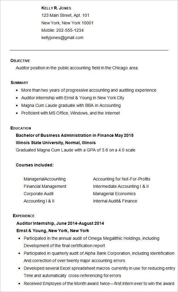 sample college resume