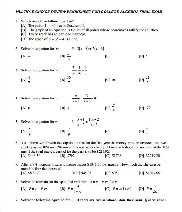 College Algebra Worksheets Printable - Khayav
