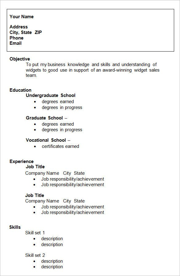 job resume outline examples