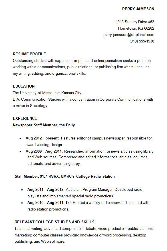College Resumes Examples Example Of Resume For College Application