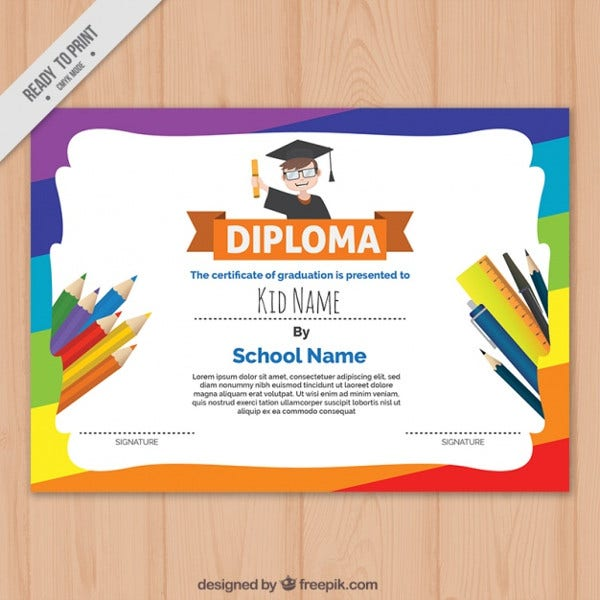colorful diploma vector template