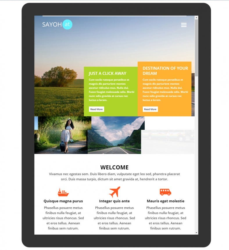 Colorful Flat Design Mobile Template for Travel Agencies