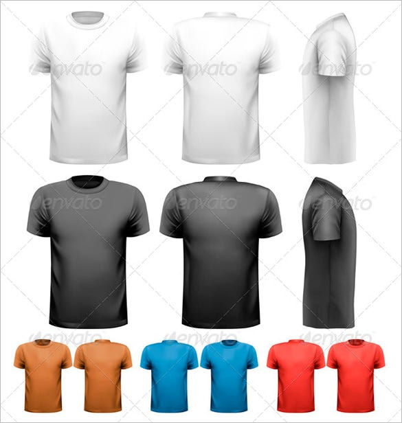 colorful male t shirt template psd