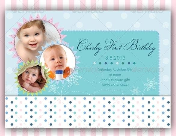colourful baby birthday card psd