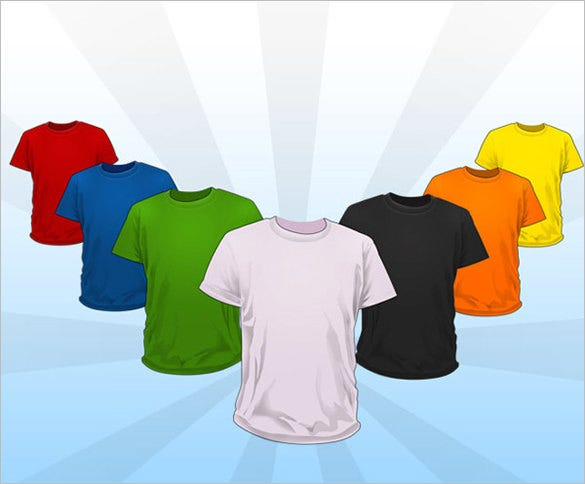 colourful blank t shirt template download