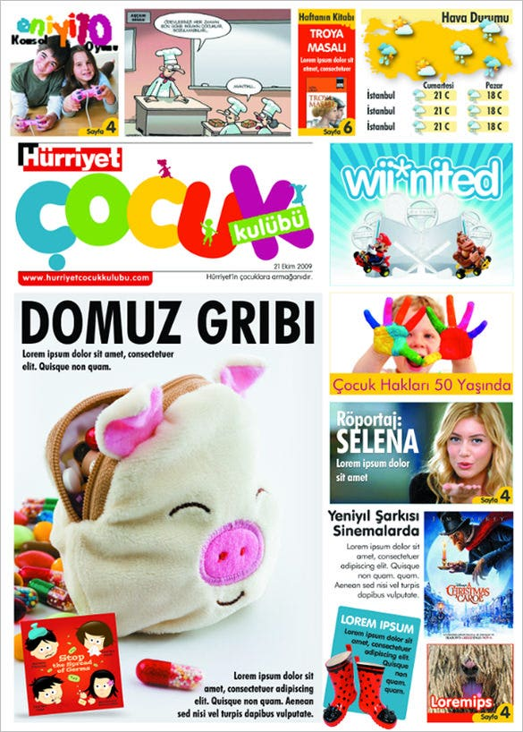 colourful design template for kids newspaper