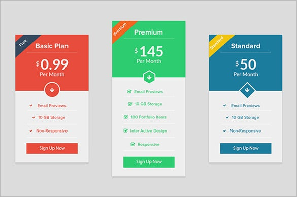 colourful pricing table psd template