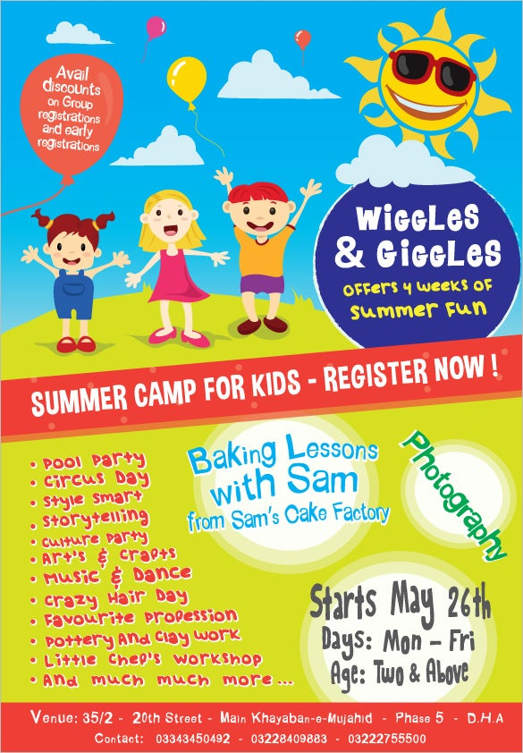 colourful summer camp flyer sample