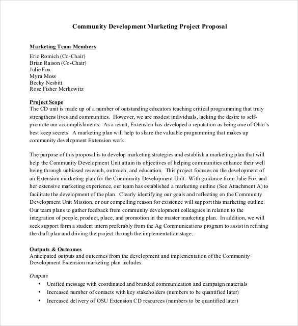 community development marketing project proposal