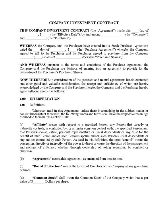 Company Investment Contract Form Idea Investor Contract Sample