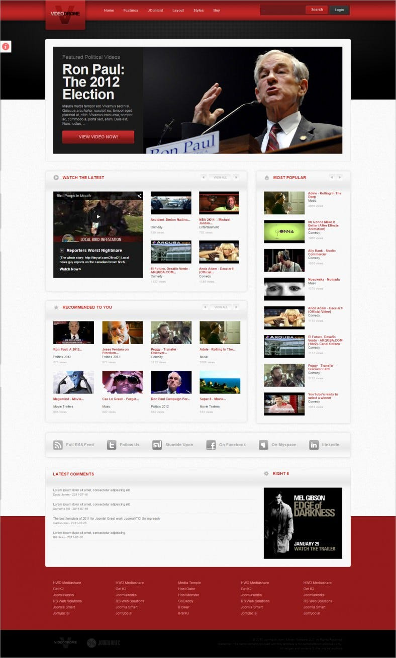 Complete Video Sharing Joomla Template