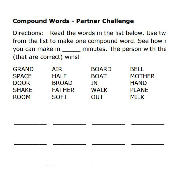 compound words vocabulary worksheet