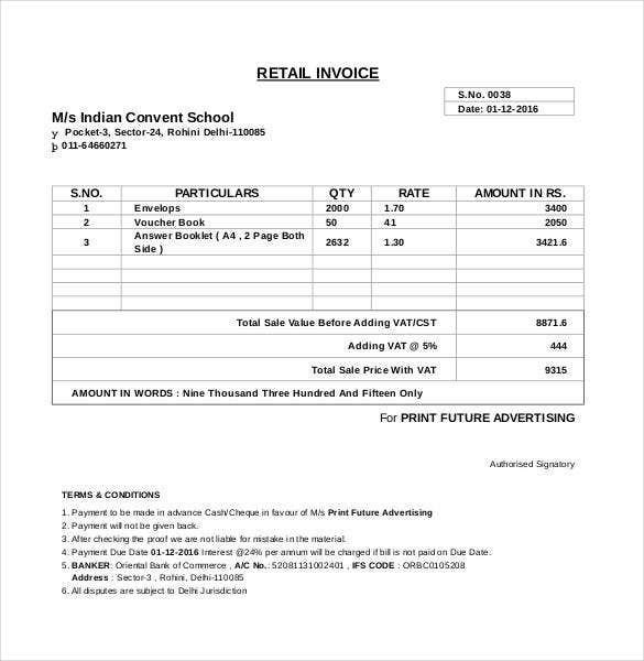 computer generated invoice format - Invocie