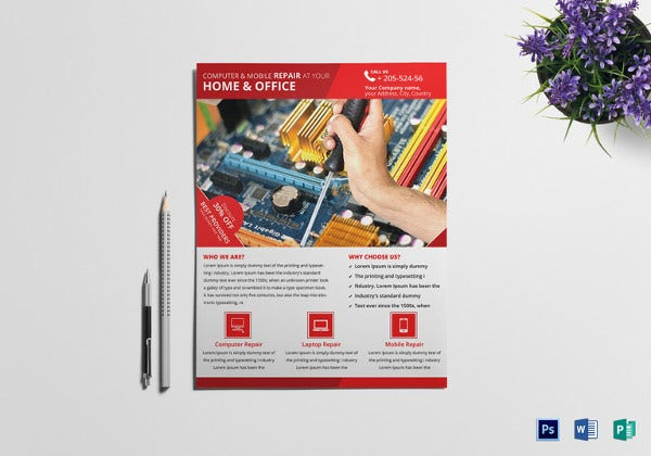 computer mobile repair flyer template in publisher