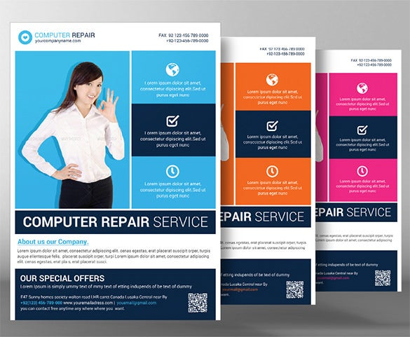 Computer Repair Flyer Templates   Free Psd Ai Format Download