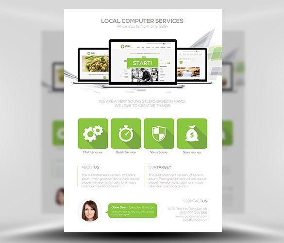 Computer Services Flyer Template PSD Download U2013 $9
