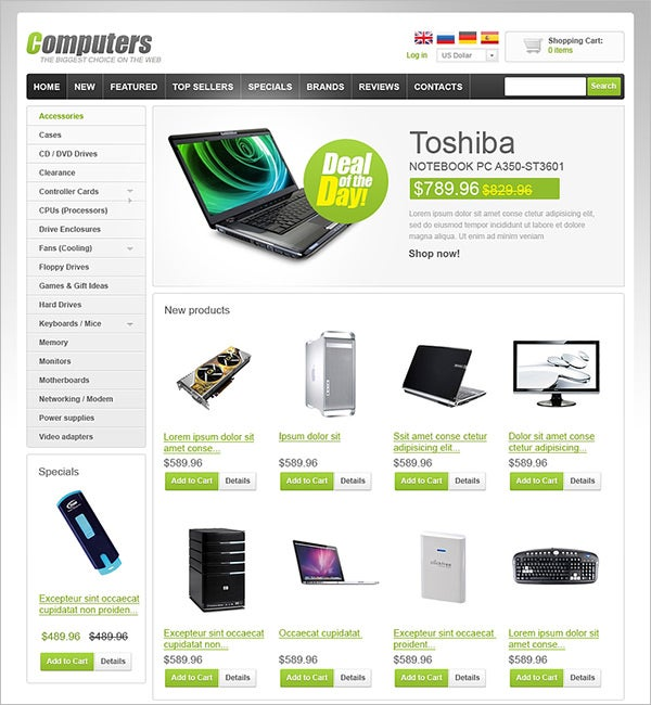 computer store oscommerce template 2