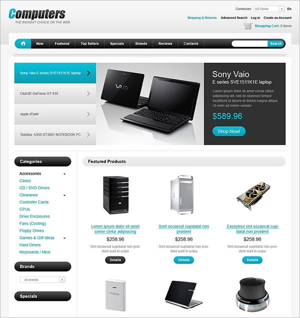 computers web store oscommerce template