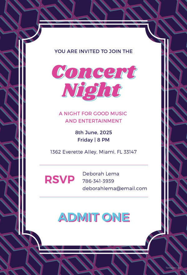 Invitation card templates 37 free printable word pdf psd eps concert ticket invitation template free download stopboris Images