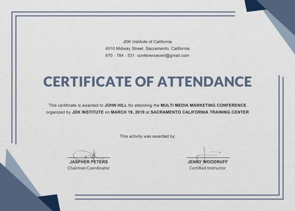 Attendance certificate templates 24 free word pdf documents conference attendance certificate template yelopaper Choice Image