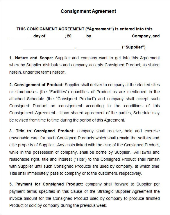 consignement contract template download