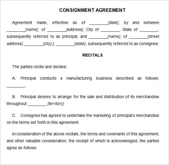 Nice Consignment Agreement Template Word With Free Consignment Contract Template