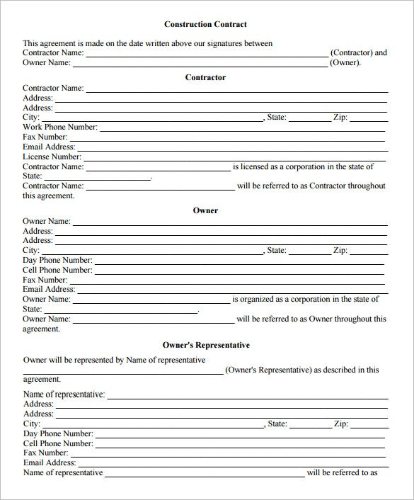 construction job contract template format download